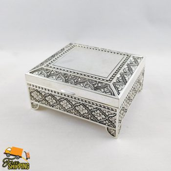"Square Leaf Silver Plated 4"" Jewellery Box"