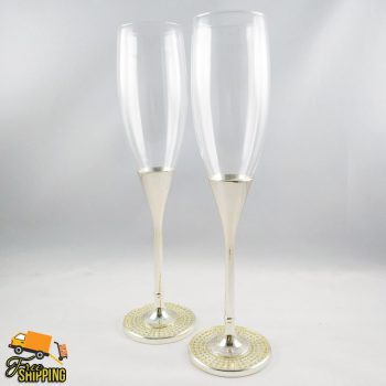 Crystal Filled Base Toasting Glass Pair