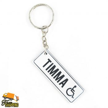 White and Black PlateIt Key Chain