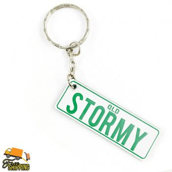 PlateIt© White and Bright Green Licence Plate Key Chain