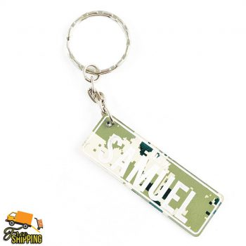 PlateIt© Camo Green and White Licence Plate Key Chain