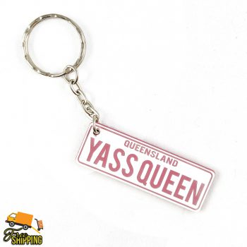 PlateIt© White and Pink Licence Plate Key Chain